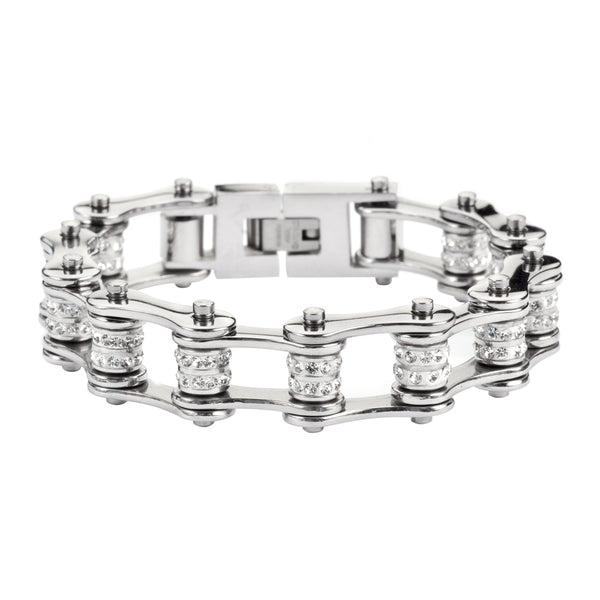"SK1301 1/2"" Wide All Stainless Double Crystal Rollers Stainless Steel Motorcycle Bike Chain Bracelet"