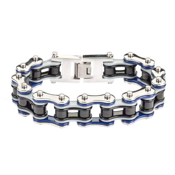 "SK1302 Quad Color Silver Blue Grey Black 3/4"" Wide Double Link Design Men's Stainless Steel Motorcycle Chain Bracelet"