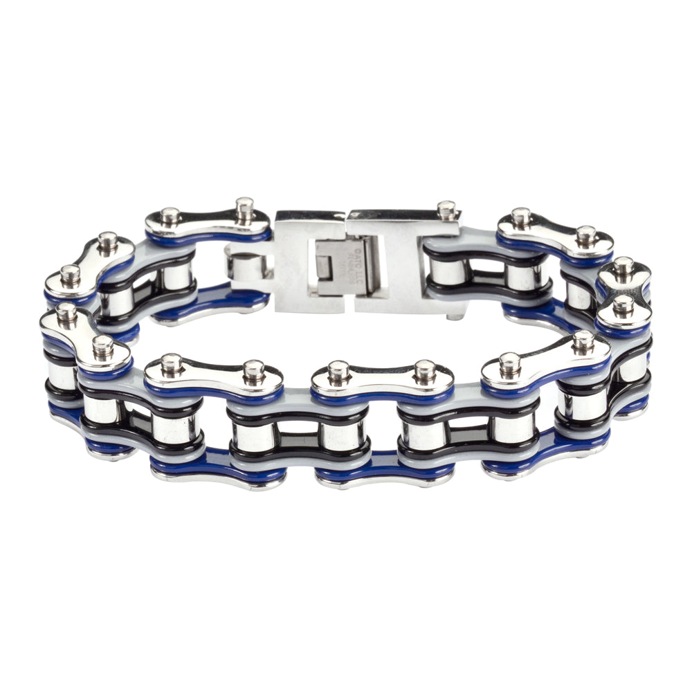 "SK1303 Quad Color Blue Grey Black Silver 3/4"" Wide Double Link Design Men's Stainless Steel Motorcycle Chain Bracelet"