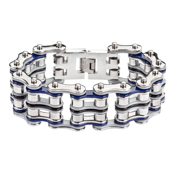 "SK1304 1"" Wide  Quad Color Silver Grey Blue Black Men's Stainless Steel Motorcycle Chain Bracelet"