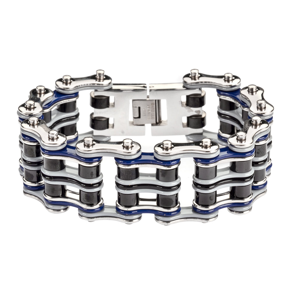 "SK1305 1"" Wide Quad Color Grey Blue Silver Black Men's Stainless Steel Motorcycle Chain Bracelet"