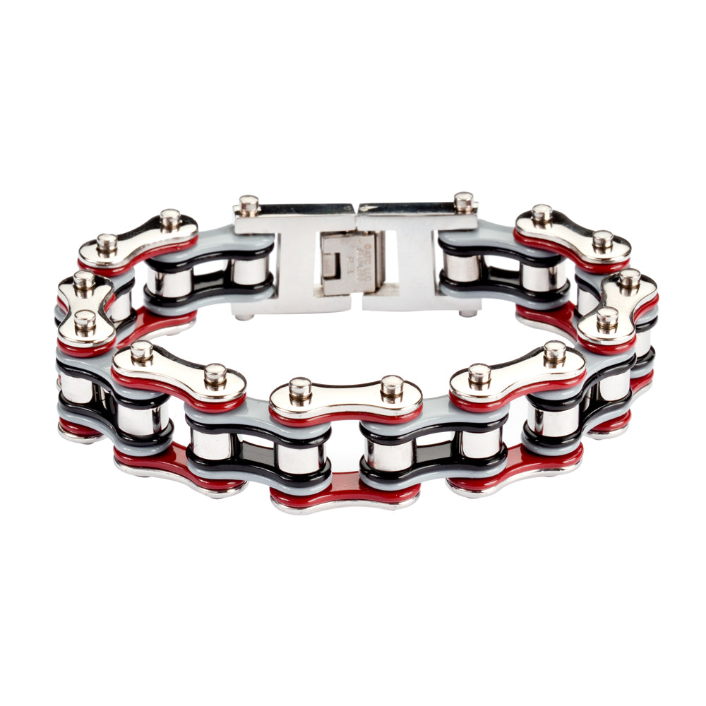 "SK1308 Quad Color Red Grey Black Silver 3/4"" Wide Double Link Design Men's Stainless Steel Motorcycle Chain Bracelet"