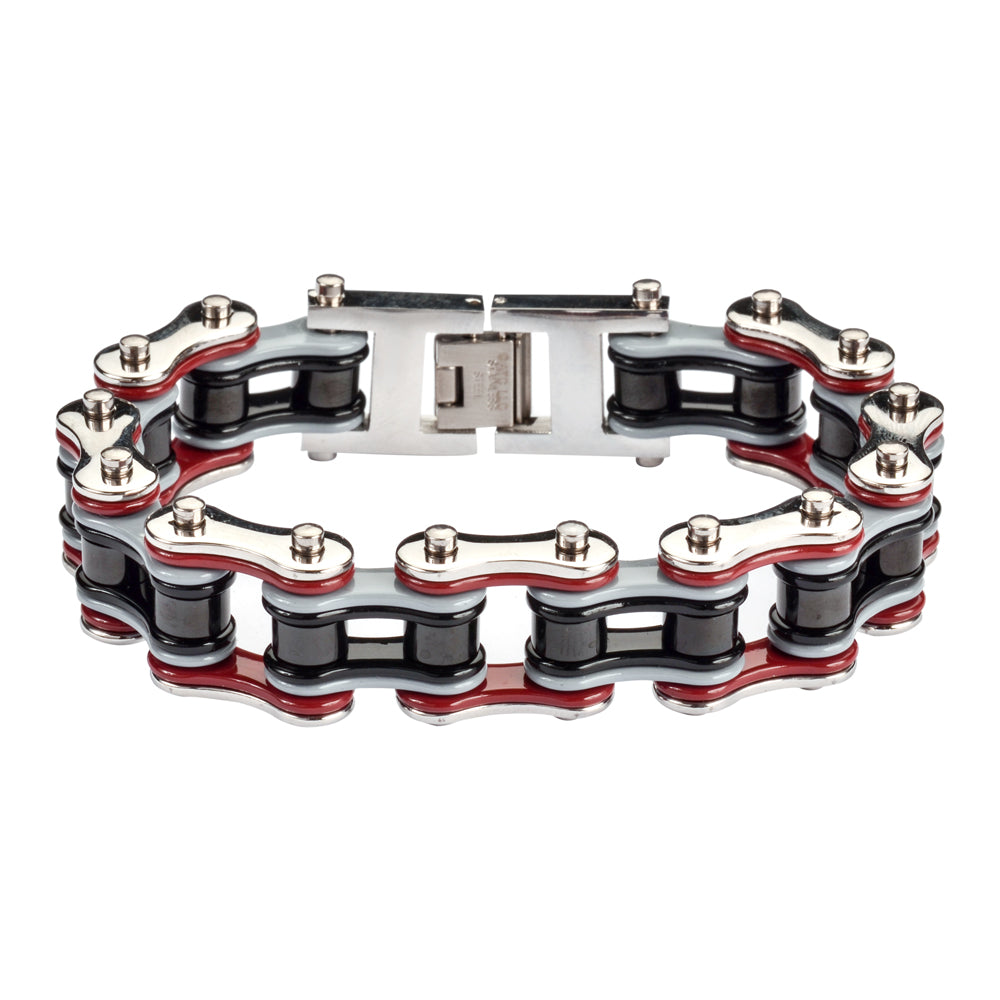 "SK1309 Quad Color Silver Red Grey Black 3/4"" Wide Double Link Design Men's Stainless Steel Motorcycle Chain Bracelet"