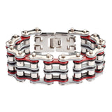 "SK1310 1"" Wide  Quad Color Tone Silver Grey Red Black Men's Stainless Steel Motorcycle Chain Bracelet"