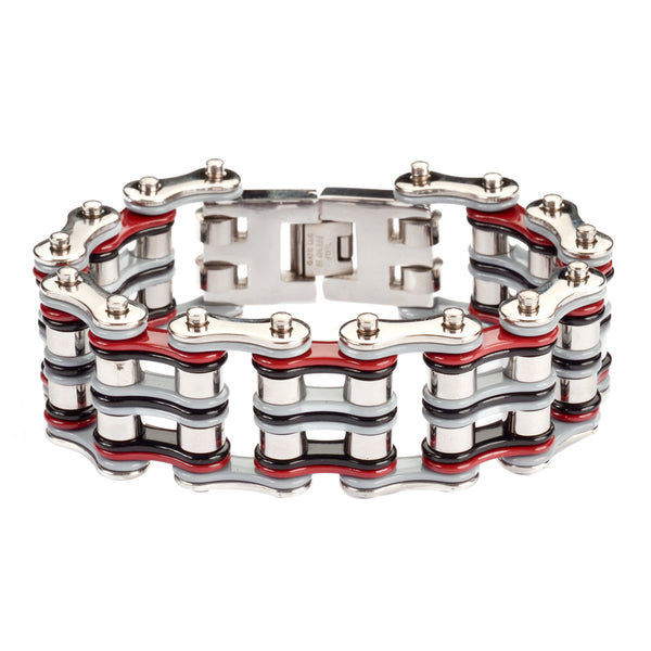 "SK1310 1"" Wide åÊQuad Color Tone Silver Grey Red Black Men's Stainless Steel Motorcycle Chain Bracelet"