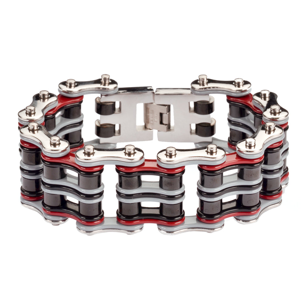 "SK1311 Quad Color 1"" Wide Grey Red Black Silver Stainless Steel Motorcycle Chain Bracelet"