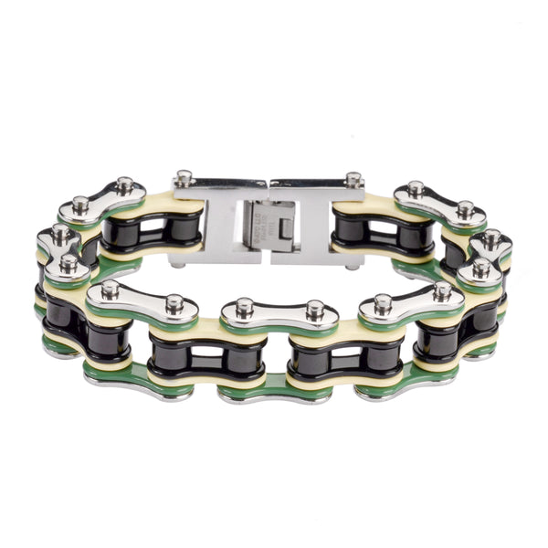 "SK1314 Quad Color Silver Green Tan Black 3/4"" Wide Double Link Design Men's Stainless Steel Motorcycle Chain Bracelet"