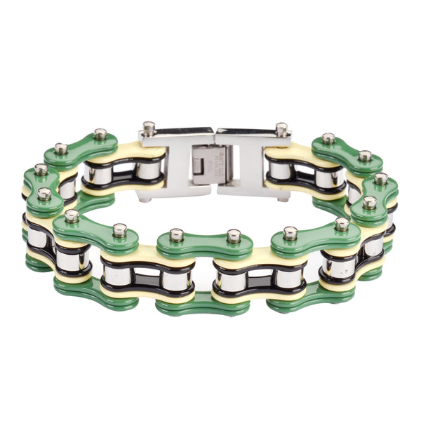 "SK1315 Quad Color Green Cream Black Silver 3/4"" Wide Double Link Design Men's Stainless Steel Motorcycle Chain Bracelet"