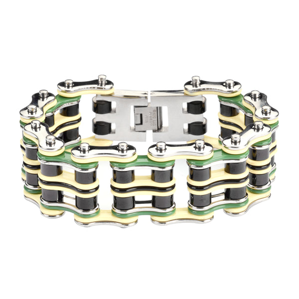 "SK1317 Quad Color 1"" Wide Silver Tan Green Black Men's Stainless Steel Motorcycle Chain"
