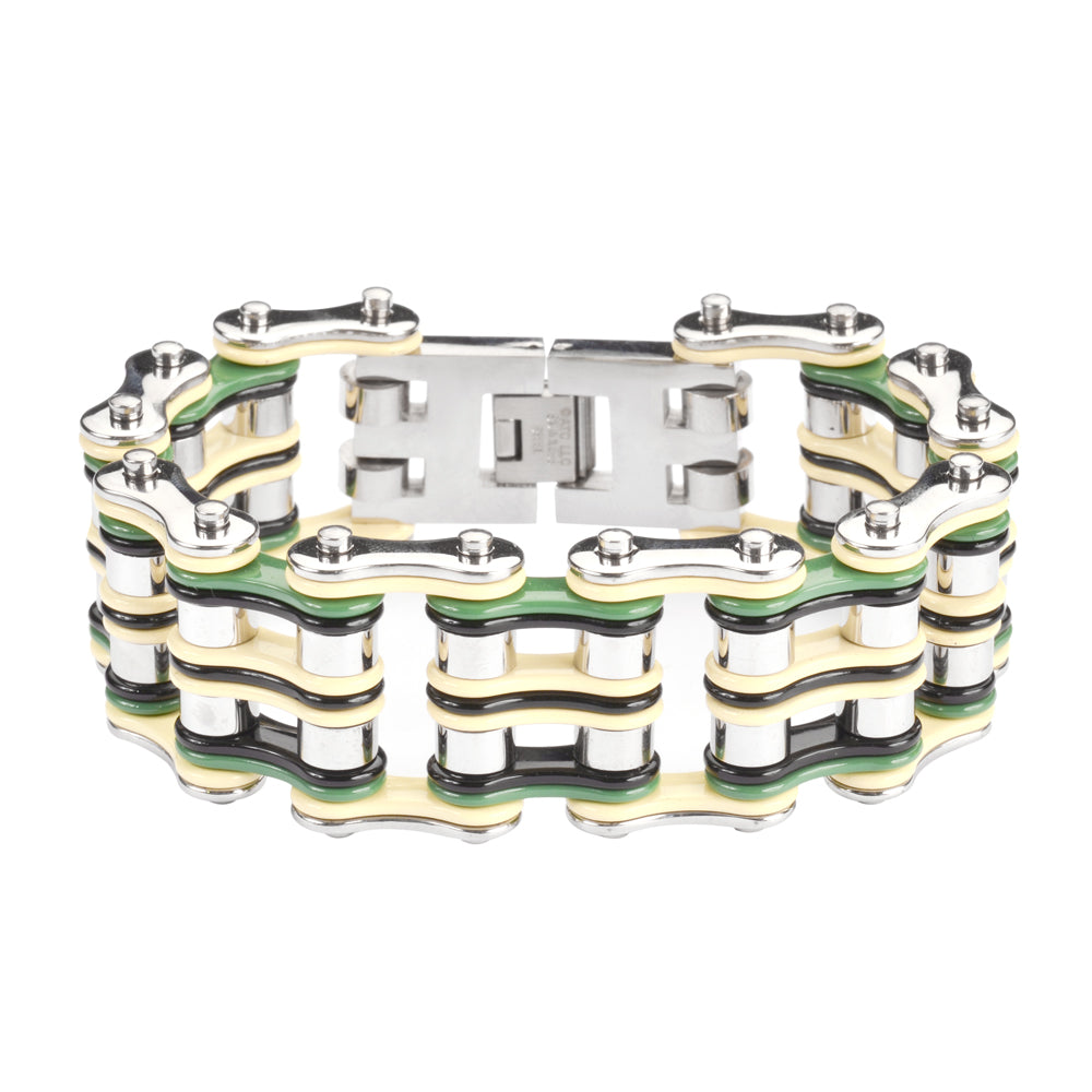 "SK1318 Quad Color 1"" Wide Tan Silver Green Black Men's Stainless Steel Motorcycle Chain Bracelet"