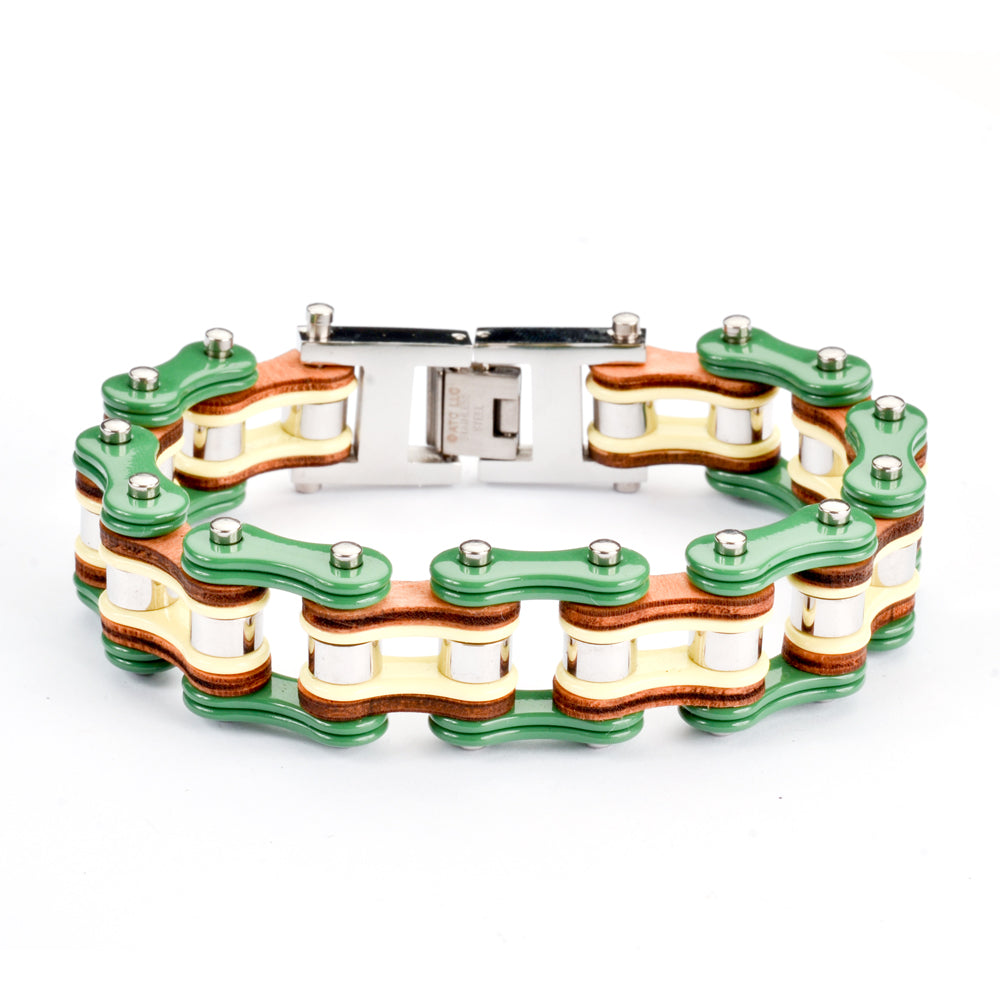 "SK1319 Tri Color Tone Green Yellow Silver Leather 3/4"" Wide Men's Stainless Steel Motorcycle Chain Bracelet"