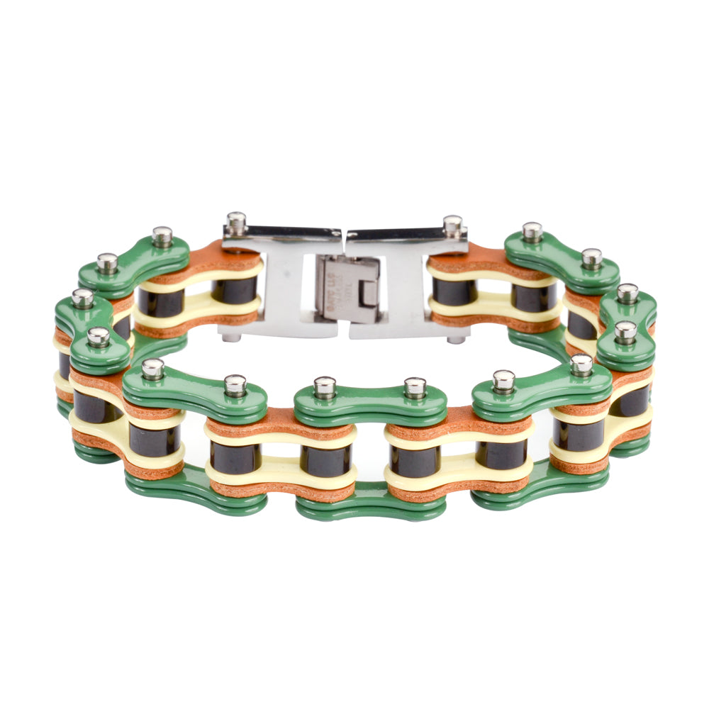 "SK1320 Tri Color Green Yellow Black Leather 3/4"" Wide Men's Stainless Steel Motorcycle Chain Bracelet"