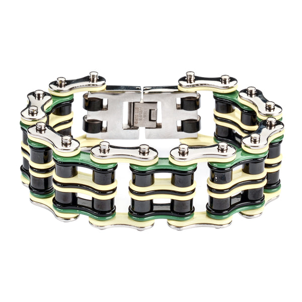 "SK1321 Quad Color 1"" Wide Silver Grey Black Green Men's Stainless Steel Motorcycle Chain Bracelet"