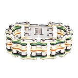 "SK1324 1"" Wide Quad Color Silver Yellow Green Black Leather Men's Stainless Steel Motorcycle Chain Bracelet"
