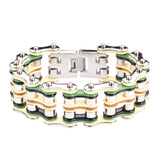 "SK1325 1"" Wide Quad Color Silver Yellow Green Black Leather Men's Stainless Steel Motorcycle Chain Bracelet"