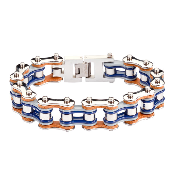 "SK1326 Tri Color Tone Silver Grey Blue Leather 3/4"" Wide Double Link Design Men's Stainless Steel Motorcycle Chain Bracelet"