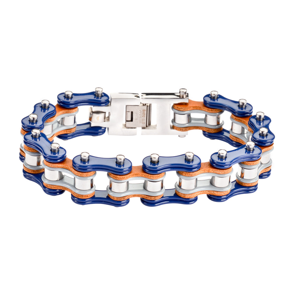 "SK1328 Tri Color Tone Blue Grey Silver Leather 3/4"" Wide Double Link Design Men's Stainless Steel Motorcycle Chain Bracelet"