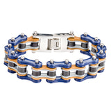 "SK1329 Tri Color Tone Blue Grey Black Leather 3/4"" Wide Double Link Design Men's Stainless Steel Motorcycle Chain Bracelet"