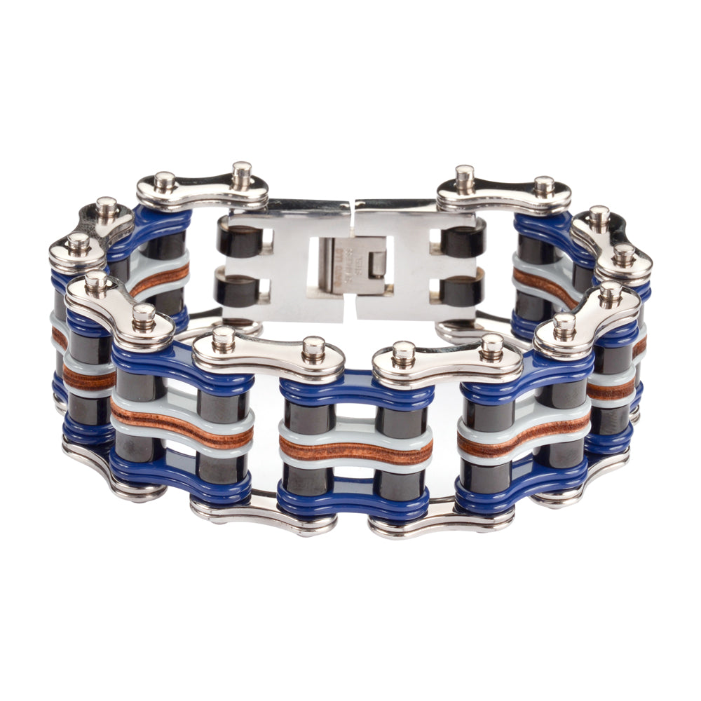 "SK1332 1"" Wide Quad Color Tone Silver Blue Black Grey Leather Men's Stainless Steel Motorcycle Chain Bracelet"