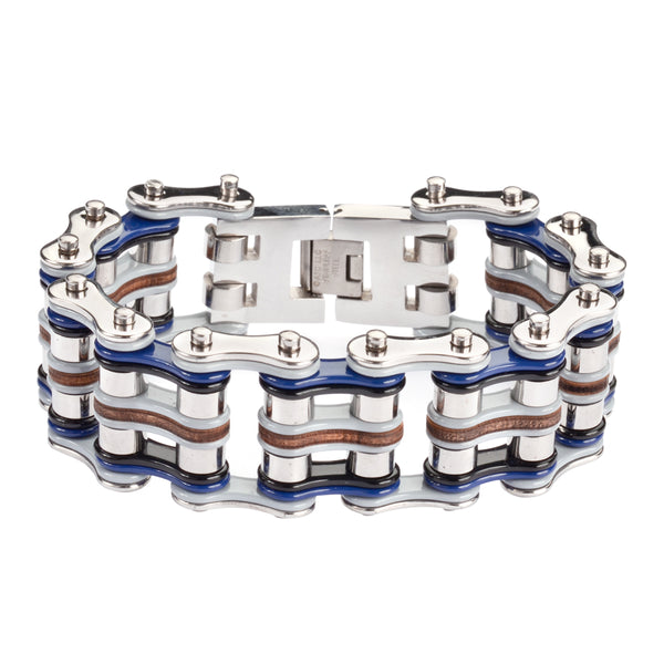 "SK1333 1"" Wide Quad Color Tone Silver Grey Blue Black Leather Men's Stainless Steel Motorcycle Chain Bracelet"