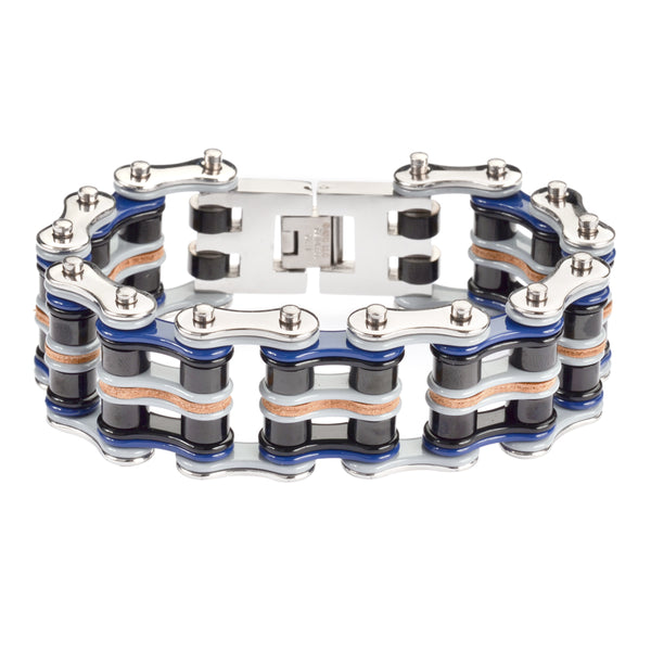 "SK1334 Quad Color 1"" Wide  Silver Blue Black Grey Leather Men's Stainless Steel Motorcycle Chain Bracelet"