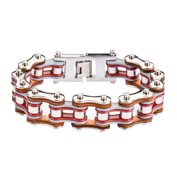 "SK1336 Tri Color Tone Silver Grey Red Leather 3/4"" Wide Double Link Design  Men's Stainless Steel Motorcycle Chain Bracelet"