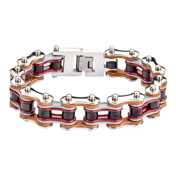 "SK1337 Quad Color Silver Grey Red Black Leather 3/4"" Wide Double Link Design Men's Stainless Steel Motorcycle Chain Bracelet"