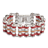 "SK1340 Tri Color 1"" Wide Silver Red Grey Leather Stainless Steel Motorcycle Chain Bracelet"