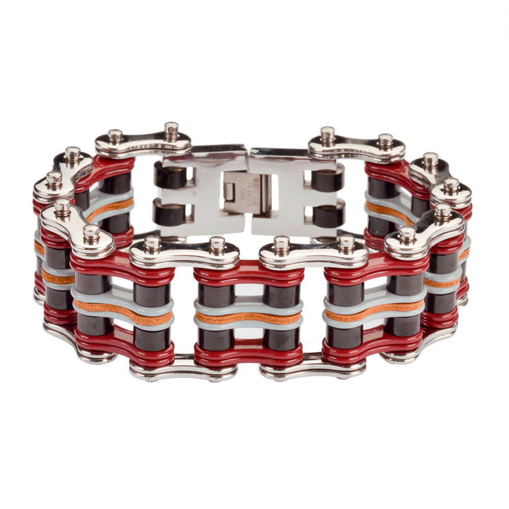 "SK1341 Quad Color 1"" Wide Silver Red Black Grey  Leather Stainless Steel Motorcycle Chain Bracelet"