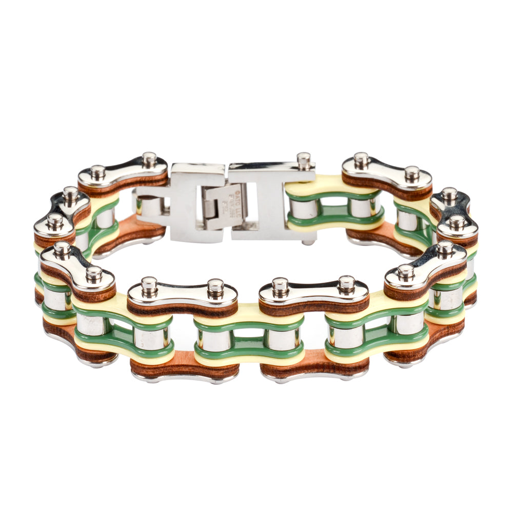 "SK1343 Tri Color Silver Yellow Green Leather 3/4"" Wide Men's Stainless Steel Motorcycle Chain Bracelet"