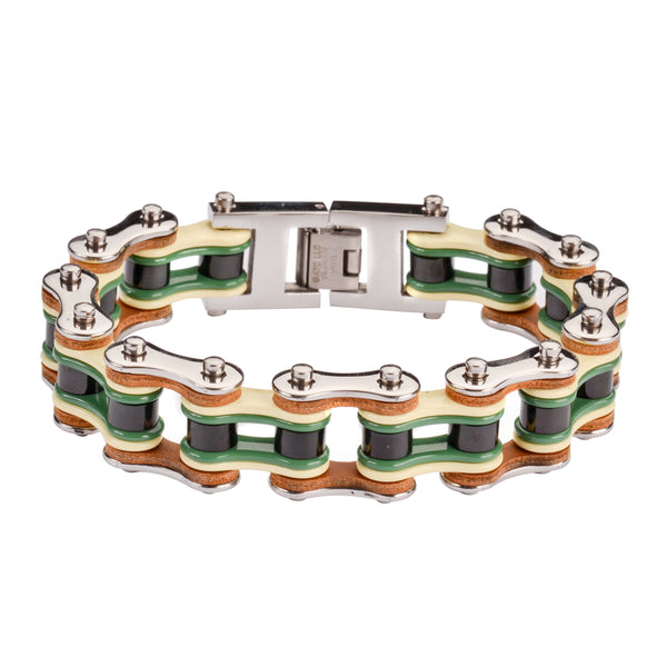 "SK1344 Quad Color Silver Yellow Green Black Leather 3/4"" Wide Men's Stainless Steel Motorcycle Chain Bracelet"