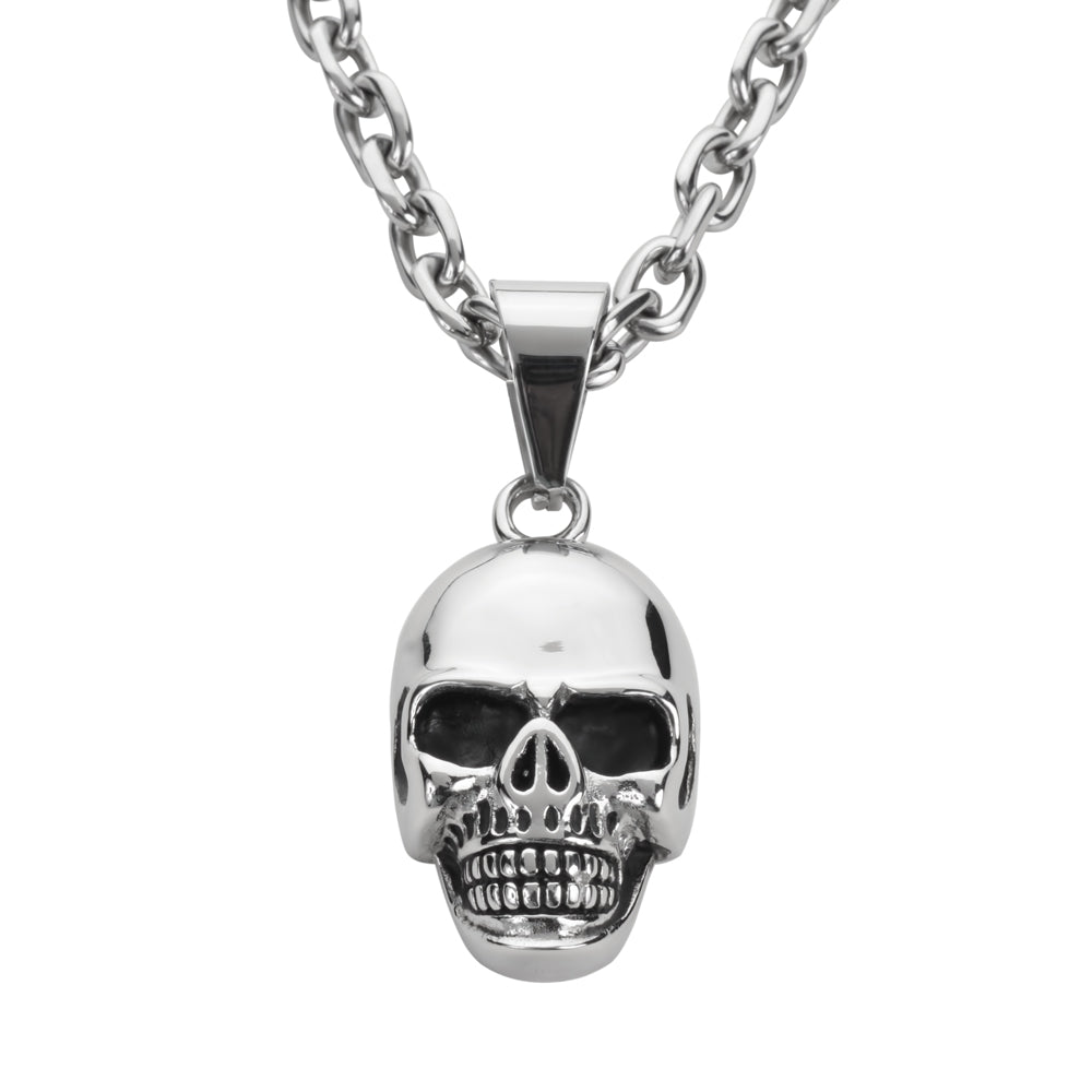 "SK1420 Skull 2 1/4"" Tall With 26"" Byzantine Link Chain Stainless Steel Motorcycle Jewelry"
