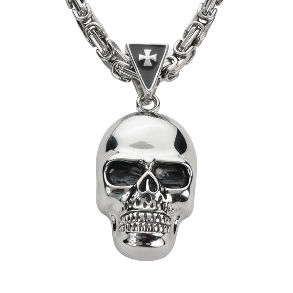 "SK1422 Skull 3"" Tall 26"" With Byzantine Link Chain Stainless Steel Motorcycle Jewelry"
