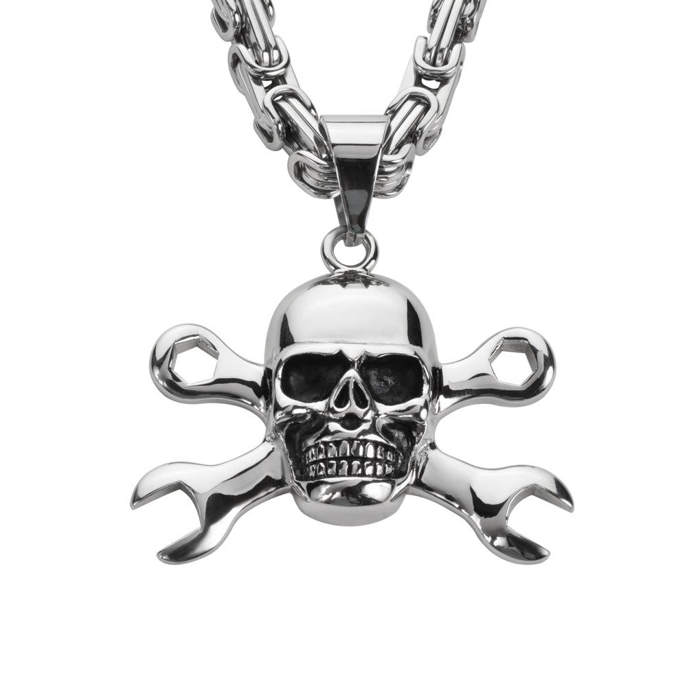 "SK1424 Skull 2 1/4"" Tall With 26"" Fancy Link Chain Stainless Steel Motorcycle Jewelry"