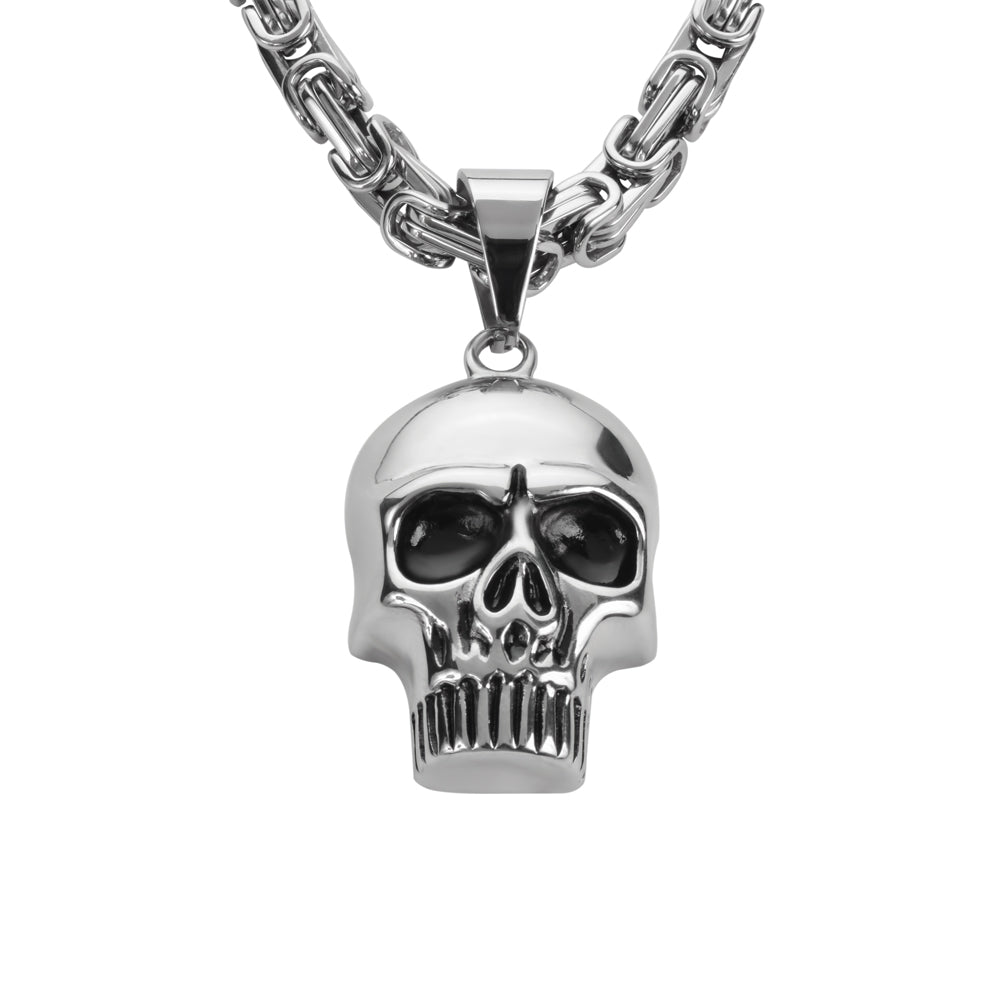 "SK1426 Skull 2 1/4"" Tall 26"" Byzantine Link Chain Stainless Steel Motorcycle Jewelry"