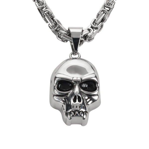 "SK1428 Skull 2 1/4"" Tall With 26"" Byzantine Link Chain Stainless Steel Motorcycle Jewelry"