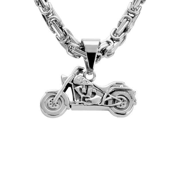 "SK1430   Motorcycle 1 1/2"" Tall With 26"" Byzantine Link Chain Stainless Steel Motorcycle Jewelry"