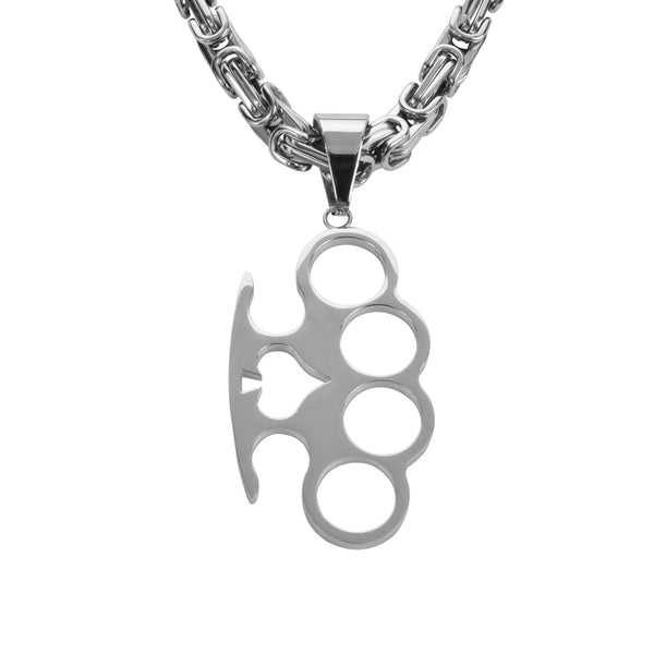 "SK1432 Ace Knuckles 2 3/4"" Tall With 26"" Byzantine Link Chain Stainless Steel Motorcycle Jewelry"