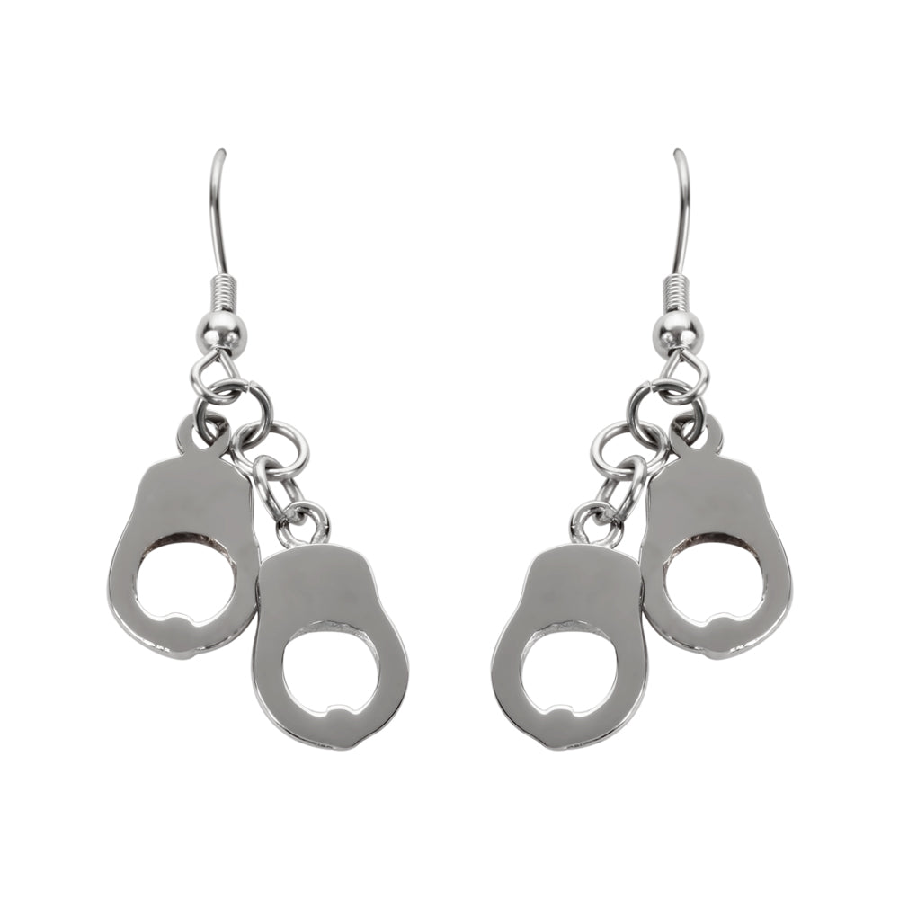 SK1458  Double Handcuff  Earrings French Wire Stainless Steel Motorcycle Biker Jewelry