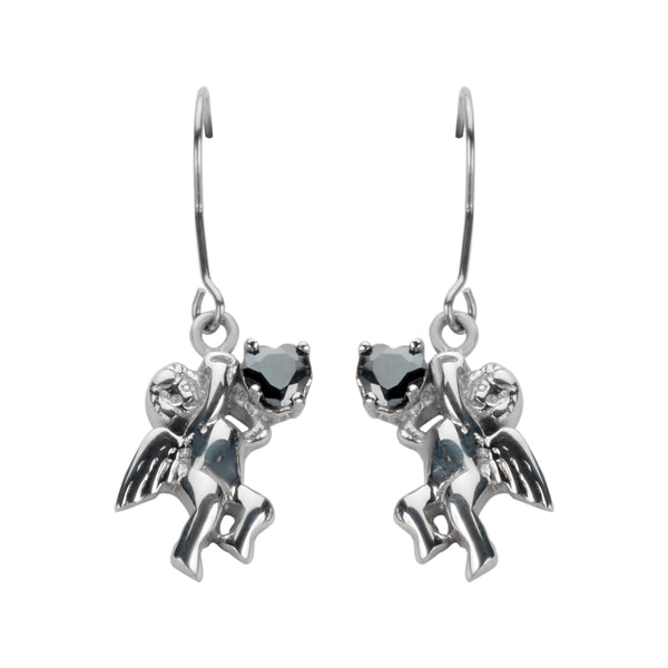 SK1472  Cherub Angel  Earrings Black Heart Shape Stones French Wire Stainless Steel Motorcycle Biker Jewelry