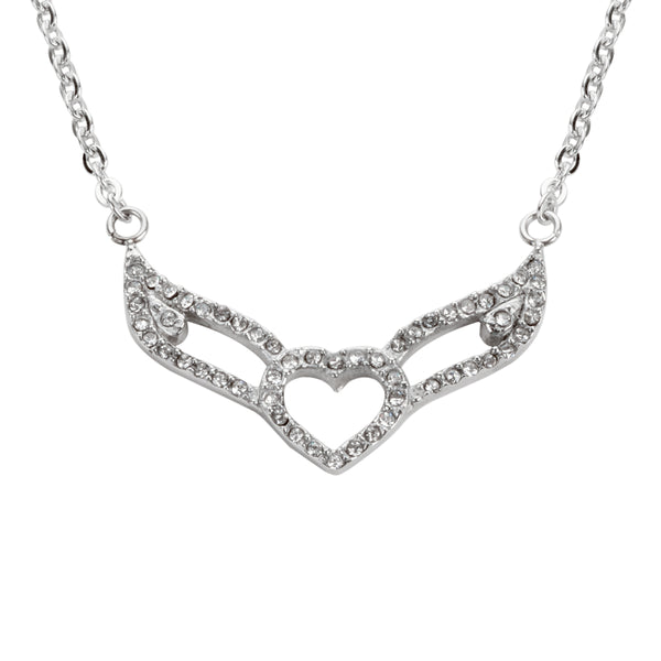 "SK1501 Ladies Crystal Double Angel Wing Outline Necklace 19"" 1 1/4"" Wide Stainless Steel Motorcycle Jewelry"