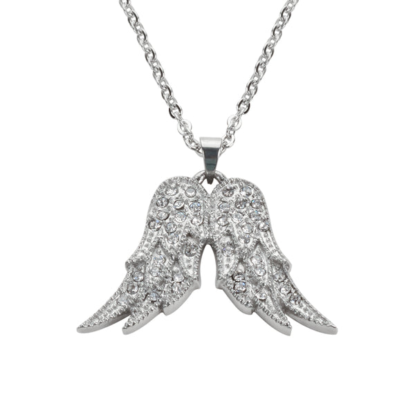 "SK1502 Ladies Crystal Fixed Double Angel Wing Necklace 19"" 1 1/4"" Wide Stainless Steel Motorcycle Jewelry"