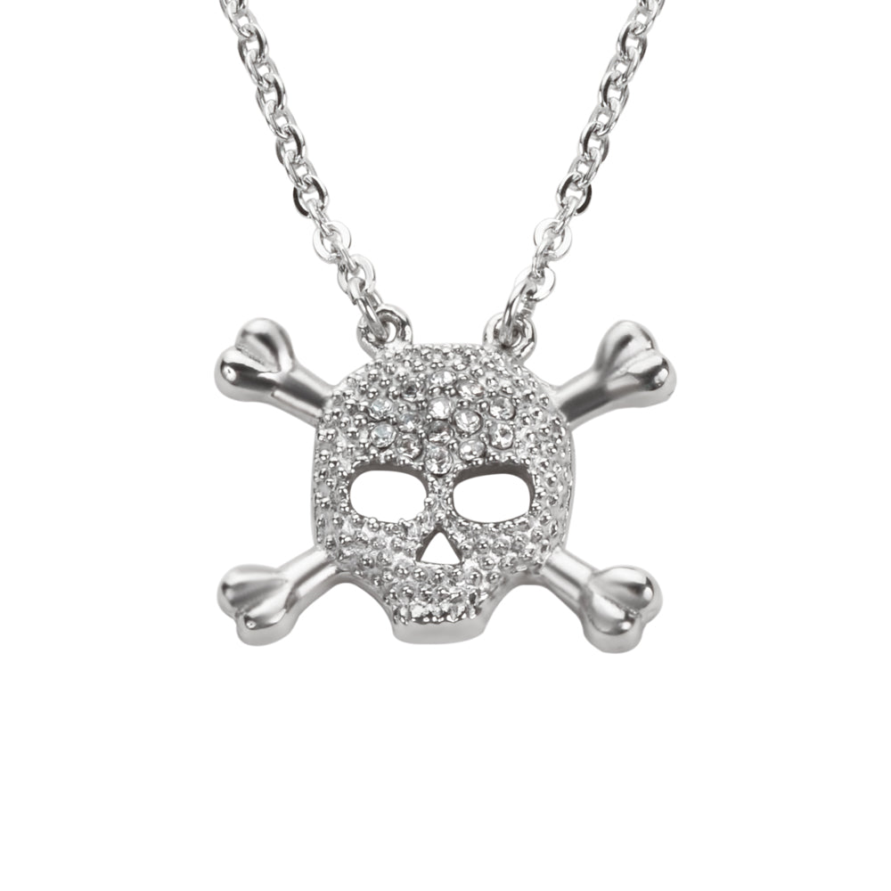 "SK1503 Ladies Skull Bones Crystal Bling Necklace 19""  3/4"" Wide Stainless Steel Motorcycle Jewelry"