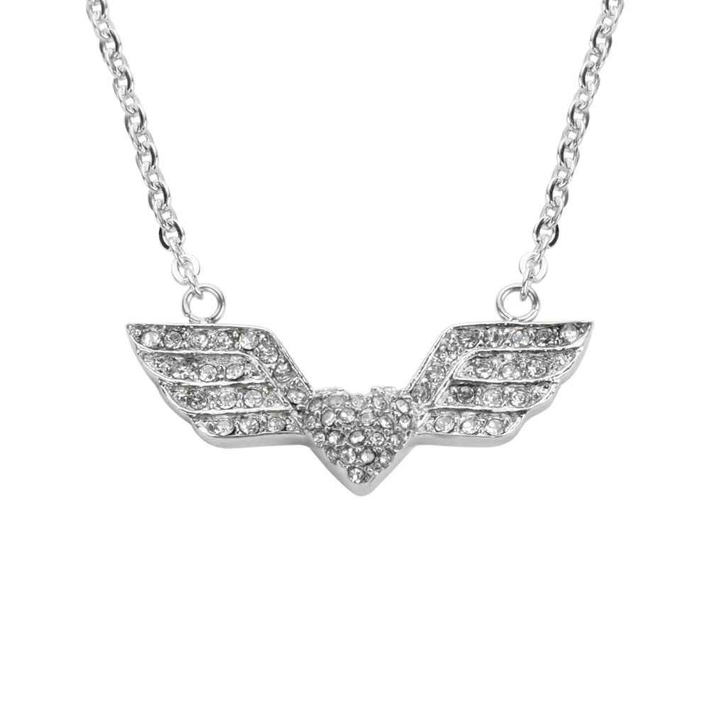 "SK1505 Ladies Double Angel Wing Heart Crystal Necklace 19""  1 3/16"" Wide Stainless Steel Motorcycle Jewelry"