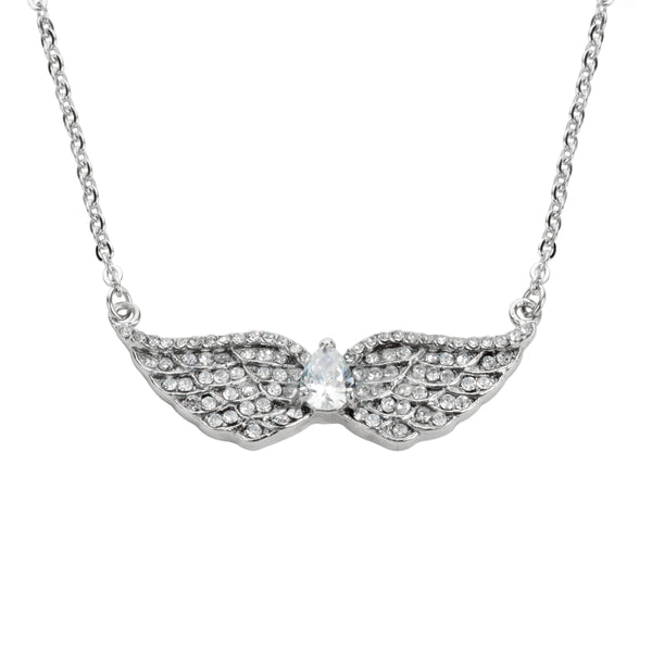 "SK1507 Ladies Double Angel Wing Crystal Pear Shaped Center Stone Necklace 19"" 1 1/2"" Wide Stainless Steel Motorcycle Jewelry"
