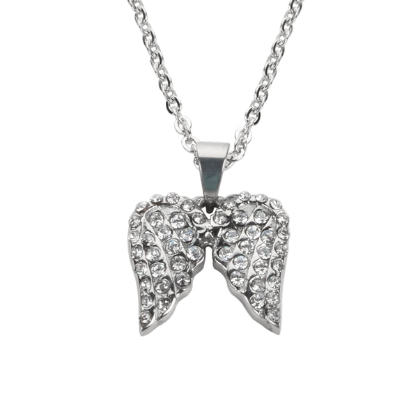 "SK1508 Ladies Double Angel Wing Crystal Necklace 19"" 9/16"" Wide Stainless Steel Motorcycle Jewelry"