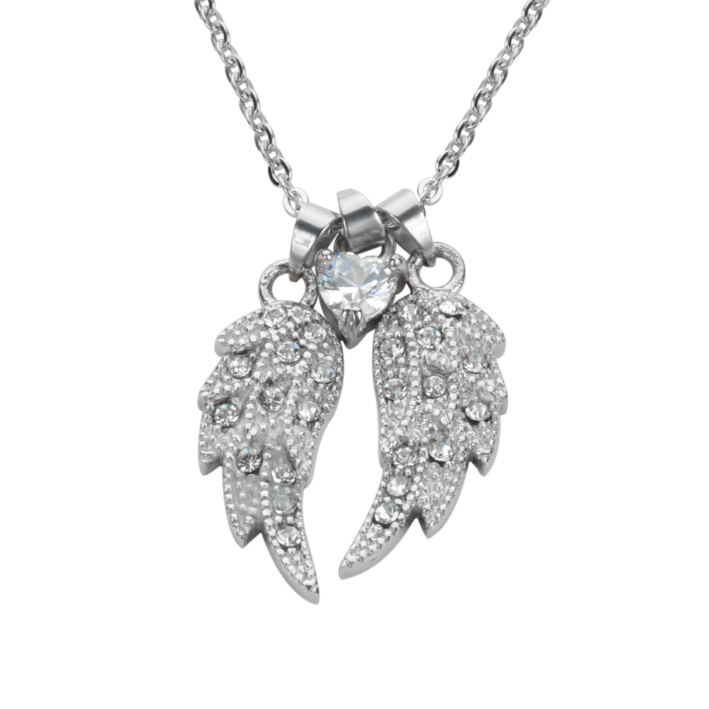 "SK1509 Ladies Double Angel Wing Crystal Heart Shaped Center Stone Necklace 19"" 1 1/2"" Wide Stainless Steel Motorcycle Jewelry"