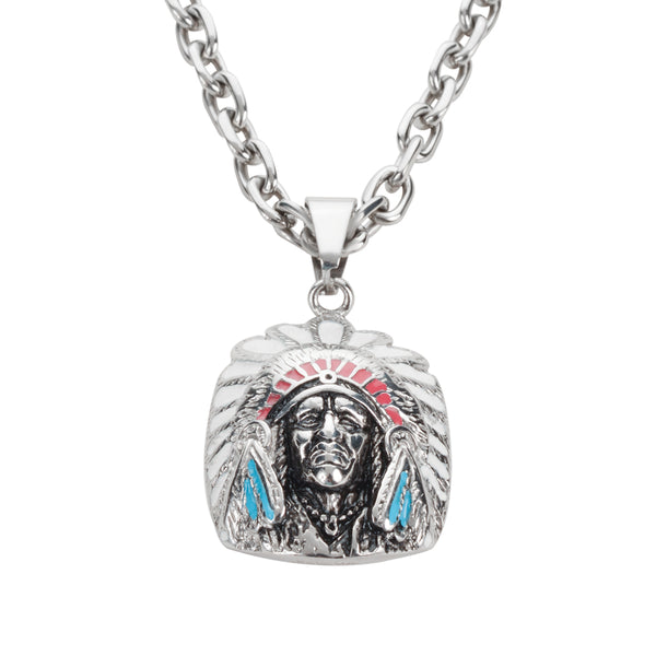 "SK1510 Indian Headdress Enameled Red Blue 1 3/4"" Tall With Byzantine Necklace 26"" Shown With 5 Millimeter Chain Stainless Steel Motorcycle Jewelry"