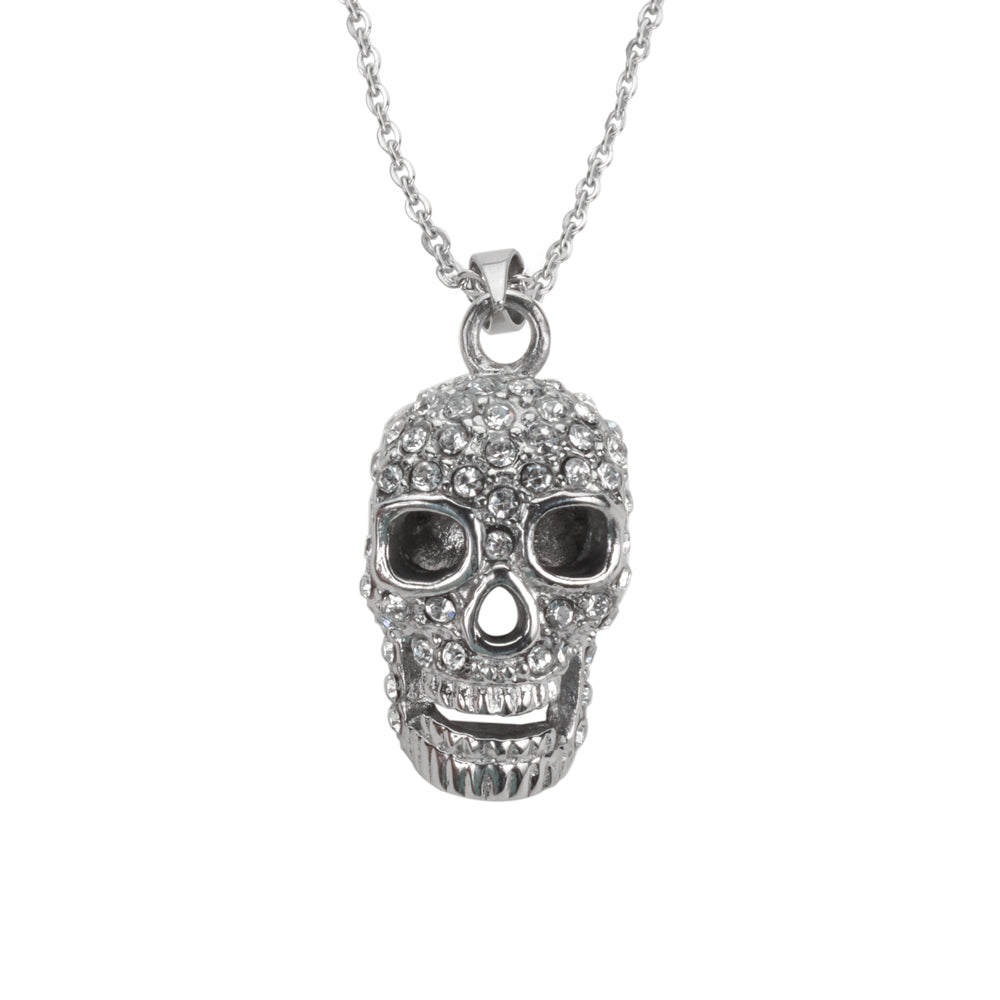 "SK1511 Skull Imitation Diamond Bling With Necklace 19"" Stainless Steel Motorcycle Jewelry"