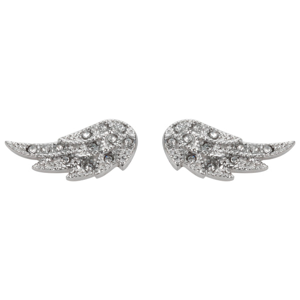 SK1520  Angel Wing Bling Earrings Silver Tone Imitation Diamonds Stainless Steel Motorcycle Biker Jewelry